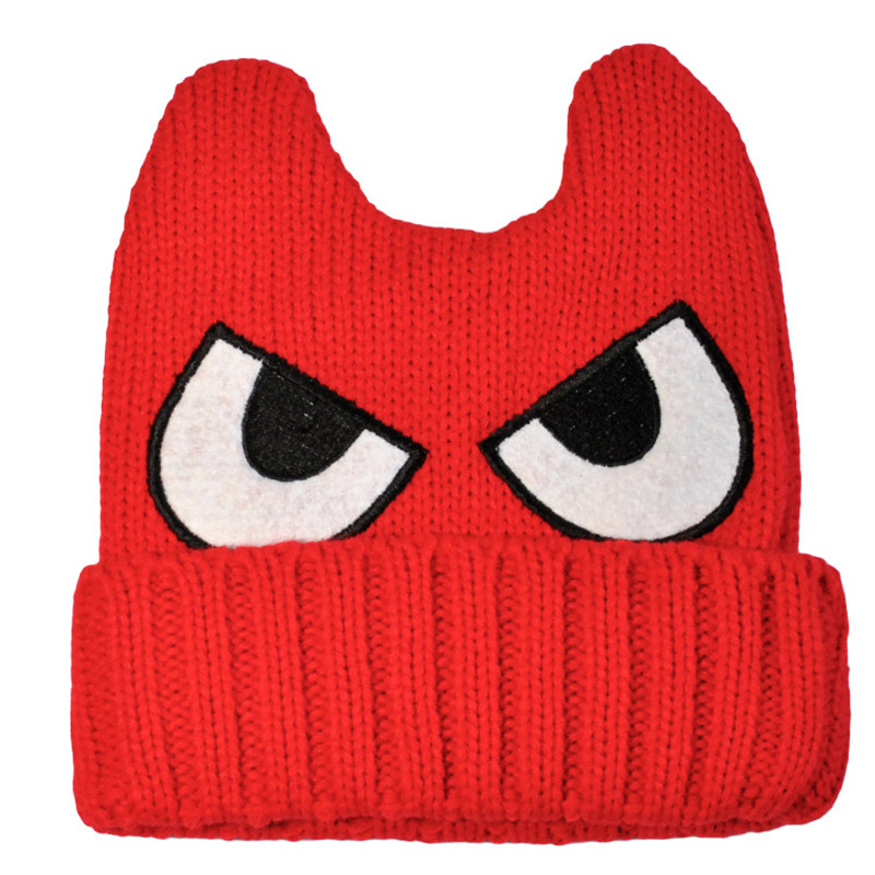 Newest Autumn Winter Ladies Hat College Style Big Eyes Embroidery Devil Horn Cat Ear Knitted Faux Wool Beanie Hat