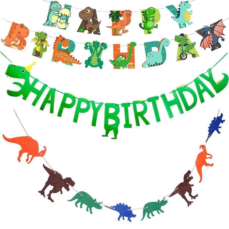 Динозавр висит баннер флаг динозавр день рождения Декор дети Юрского периода Дино счастливый день рождения баннер подвесные гирлянды прин...
