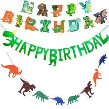 Dinossauro pendurado bandeira bandeira dinossauro festa de aniversário decoração crianças jurássico dino feliz brithday banner pendurado guirlandas suprimentos