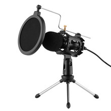 Video mikrofon kiti ile Mini mikrofon mikrofon Tripod şok dağı Pop filtre cam adaptör kablosu 3.5mm fiş
