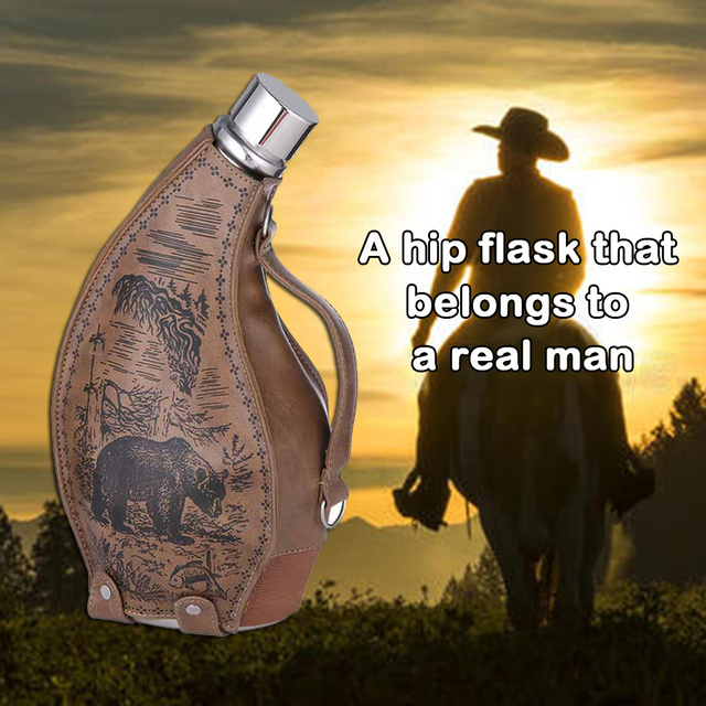 ENERGE SRPING 53oz stainless steel Horns hip flask for menfolk wine pot with leather case portable outdoor flagon with funne 2