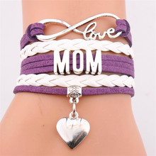 Infinity Mom Leather Bracelets Fashion Mother Letter Charm Mama
