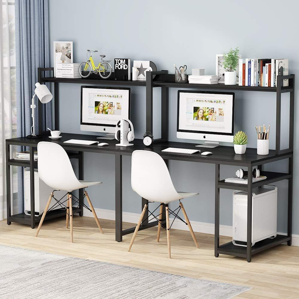 Tribesigns 94 5 Inch Computer Desk With Lockers Double Workstation Desk Home Office Study Desk Laptop Desks Aliexpress