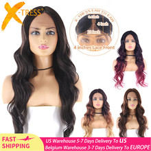 Swiss Lace Front Synthetic Hair Wigs Natural Black Color Heat Resistant Fiber Hairpiece X TRESS Long Wavy Lace Wig Middle Part