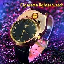 Lighter watches USB Rechargeable Flameless Cigarette Lighter fashion leather strap quartz clock male gift JH313 1pcs