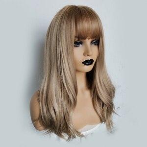 Image 2 - ALAN EATON uzun dalgalı peruk kadın kahverengi sarışın doğal saç peruk kadın sentetik kahküllü peruk ısıya dayanıklı iplik Cosplay saç