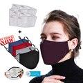 Черная хлопковая маска 2 шт. фильтры с маской маски для лица, рта против пыли PM2.5 моющаяся многоразовая маска для рта PM2.5 маски Новинка