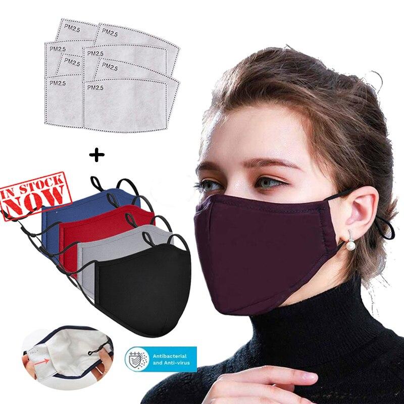 Máscara preta de algodão 2 pçs filtros com máscara boca máscaras anti pm2.5 máscara de poeira lavável capa de boca reutilizável pm2.5 máscaras novo