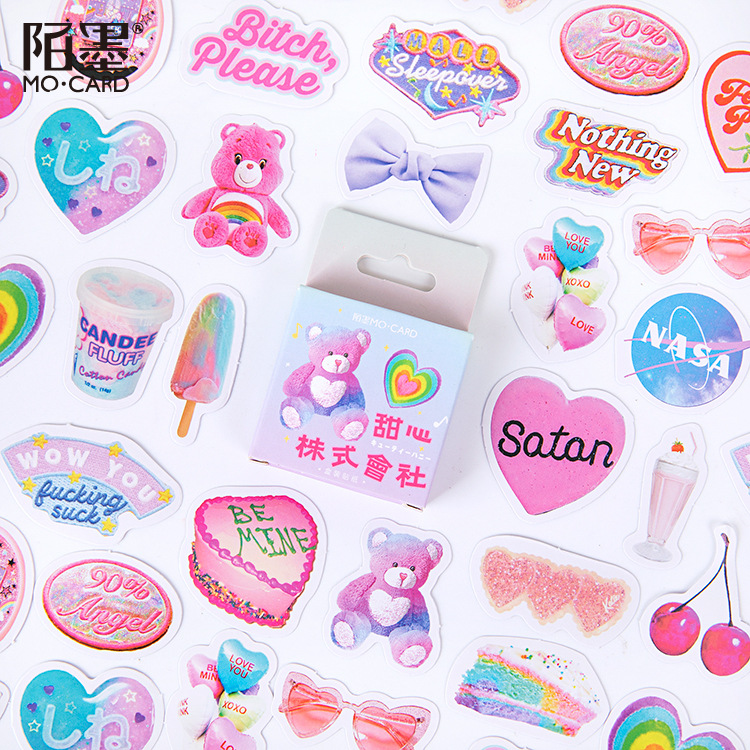 45pcs/1lot Kawaii Stationery Stickers Stamp Memoirs Diary Decorative Mobile Stickers Scrapbooking DIY Craft Stickers