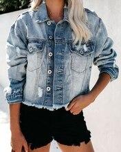 Sexy Short Denim Jacken Frauen herbst Waschen Langarm Vintage Casual Jean winter Jacke Bomber Denim Mantel dame jacke oberbekleidung