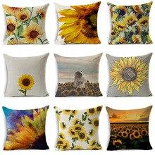 цена на Pillowcase 45*45CM New Sunflower Flower Series Linen Pillowcase Home Sofa Pillow Cushion Cover Decorative Pillowcase