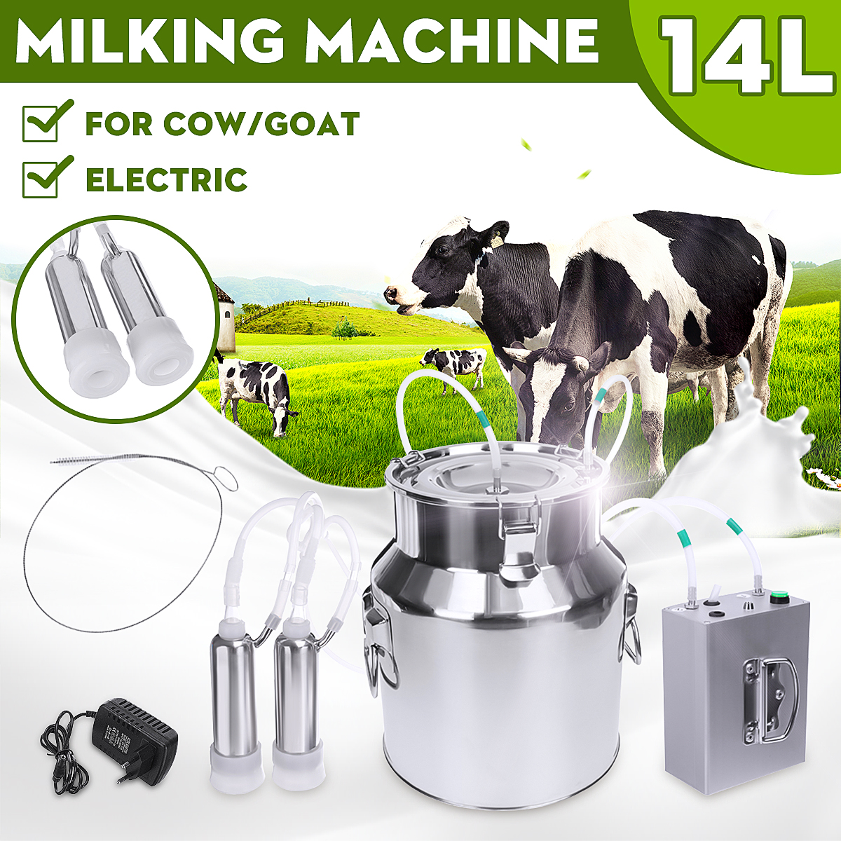 14L Cow Goat Sheep Milker Electric Milking Machine Stainless Steel Bucket Double Heads Silicone Hose With Restriction Valve