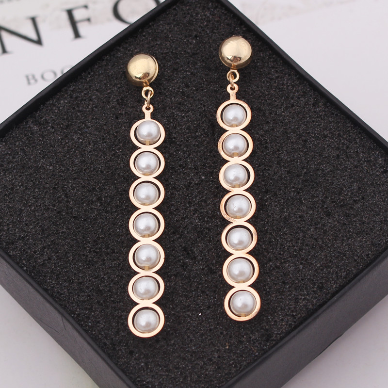 Vintage Imitation Pearl Long Drop Earrings for Women Geometric Metal Earrings Sweet Wedding Party Jewelry Girl Gift