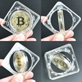 Gold Plated Bitcoin Bit Coin with Spin Case Litecoin Ripple Commemoration Metal Coin