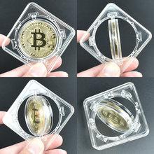 Moeda chapeada a ouro bitcoin bit com caixa de rotação litecoin ripple comemoration metal moeda