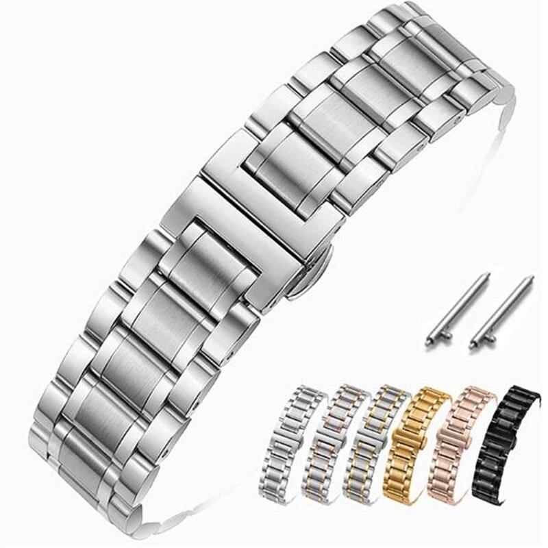 Watch Band Strap Stainless Steel 12/14/15/16/17/18/19/20/21/22/23/24mm Watch Bracelet For Quartz Watch Men