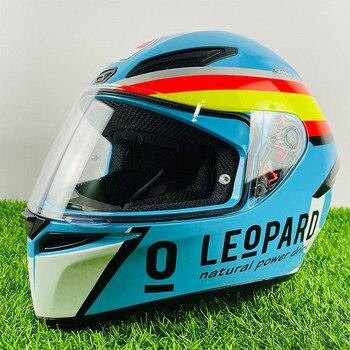 Casco de moto de cara completa K1 Mir Leopard 2020 casco de campeón azul visera antiniebla casco de moto de carreras Motocross
