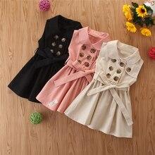 CYSINCOS/платье для девочек в английском стиле; модное двубортное детское платье без рукавов; Детские платья принцессы; Одежда для девочек 3-7 лет