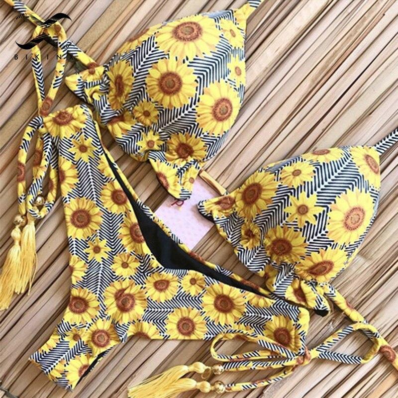Tassel Leaves Print Woman Swimsuit 2020 New Sexy Brazilian Bikini Thong Bathing Suit Halter Triangle Swimwear Women Micro Biquin