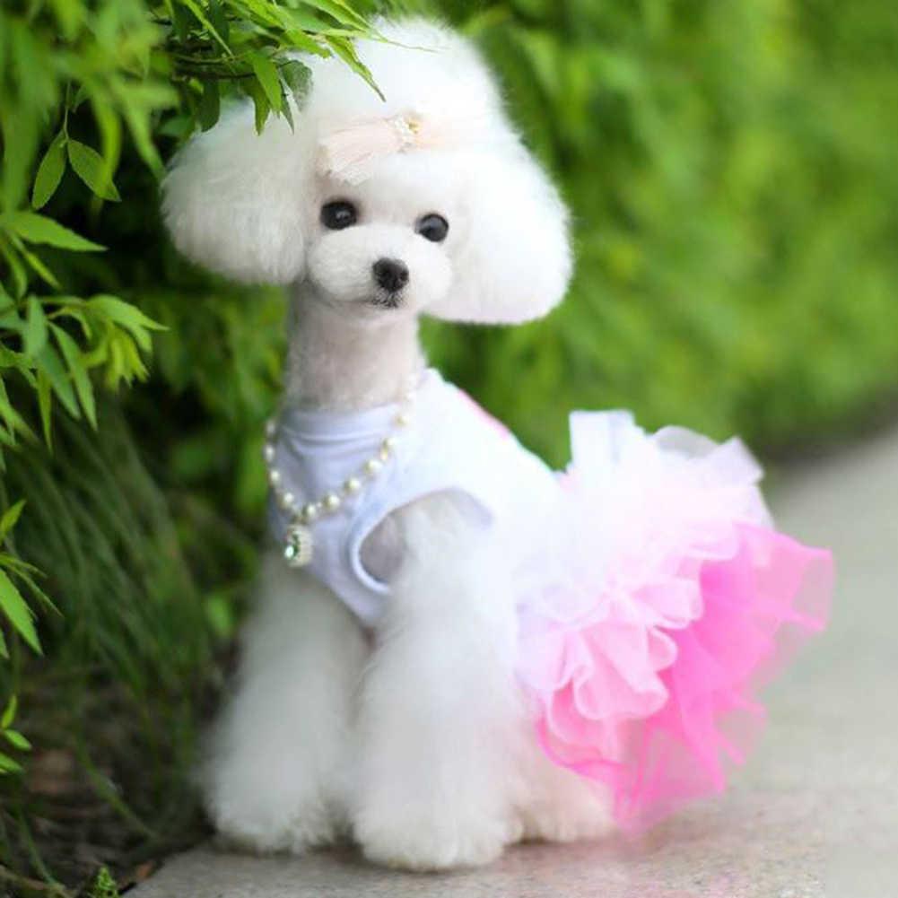 מכירה לוהטת קיץ לחיות מחמד כלב חתול כלבלב שפתיים שמלת טוטו בגדי חולצה לנשימה תחרה תלבושות