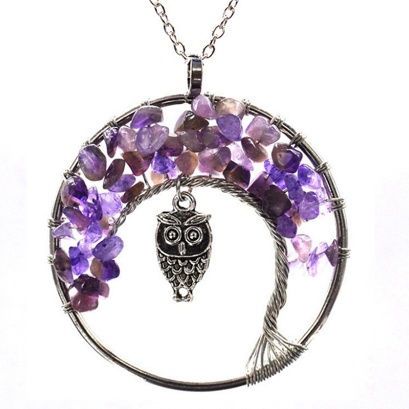 7 Chakra Quartz Natural Stone Tree of Life pendulum Pendant Necklace for Women  Healing Crystal Necklaces Pendants Reiki Jewelry 4