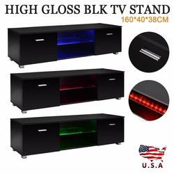 Черный глянец 63 тумба под Телевизор с светодиодный светильник 2 ящика консоль США ТВ шкаф