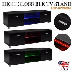 High Gloss Black 63'' TV Stand Unit Cabinet with LED Light 2 Drawers Console US TV Cabinet