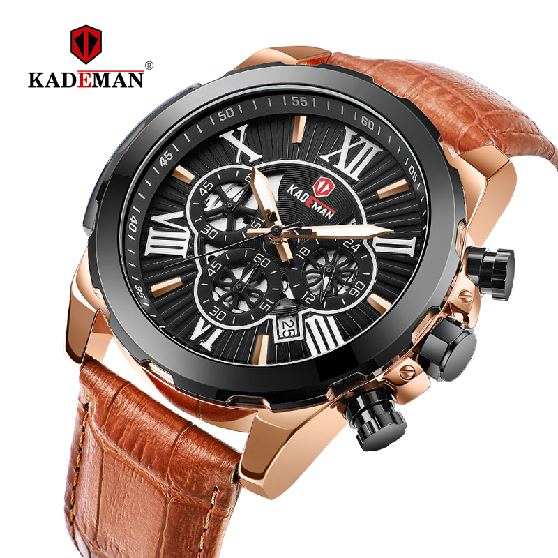 KADEMAN Men's Watches 2019 New Arrival Classic Man Watch Luminous Chronograph Waterproof Leather Strap Hardlex Relogio Masculino