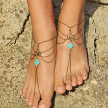 Vintage Antique Gold Chain Anklets Summer Beach Bohemia Multilayer Toe Ring Geometric Ankle Anklet On Leg Foot Jewelry for Women