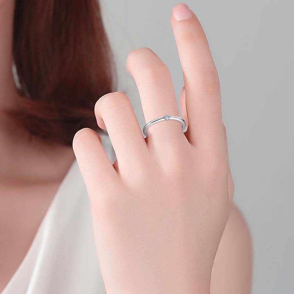 Eleshe authentic 925 anéis de prata esterlina redonda zircônia cristal anéis de dedo para o casamento feminino jóias de prata originais