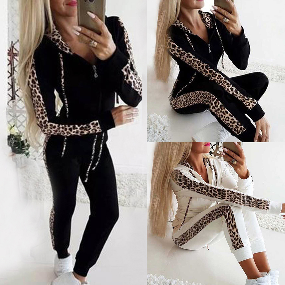 Tracksuit Women Two Piece Set Leopard Hoodies Sports Tops Pants Sweatshirt Suit Jogging Femme Sport Tracksuit Roupas Feminina