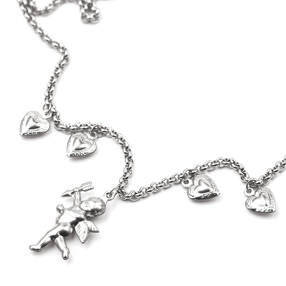 Girl Stylish Cupid Heart Shaped Pendant Necklace Angel Love Chain Choker Collar Necklace Gift For Lover
