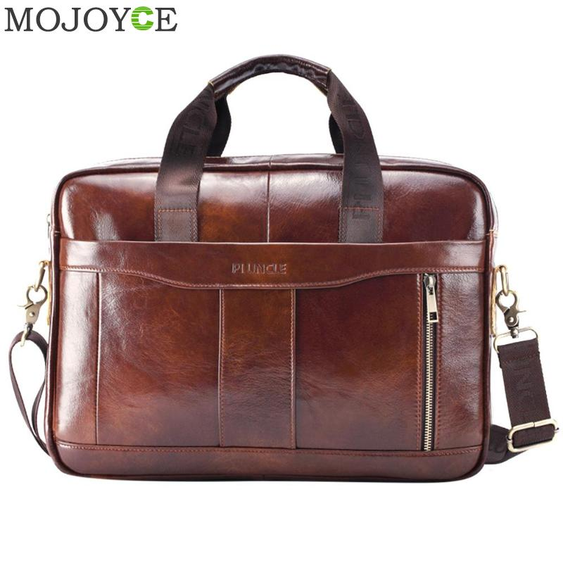 Briefcase Laptop-Bag Natural-Leather Messenger-Bags Men's Male