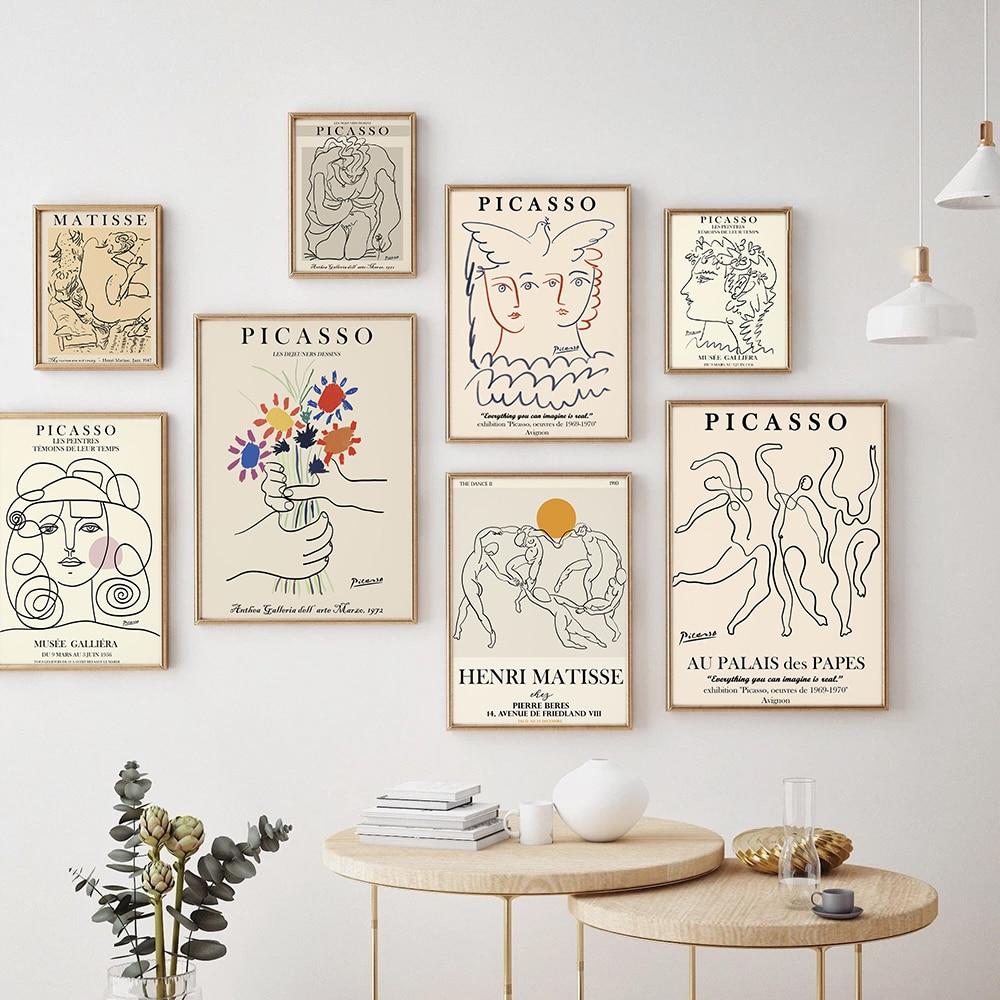 Retro picasso matisse cartazes e impressões abstratas menina corpo flor arte da parede da lona quadros para sala de estar nordic deco