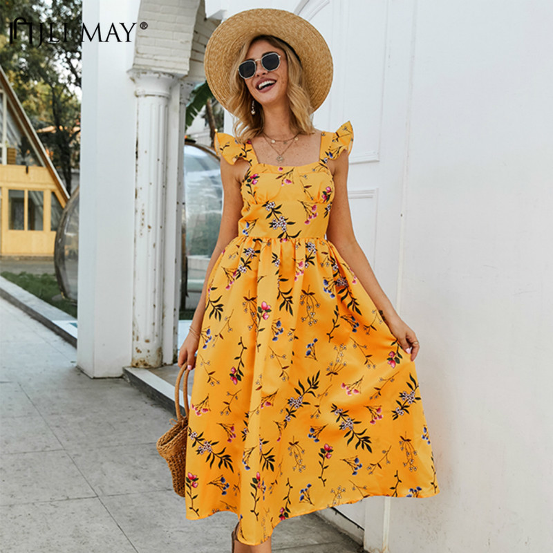 JLI MAY Sexy Print Vintage Dresses Bohemian Square Collar Reffle Spaghetti Strap Backless A-Line Mid-Calf Slim Midi Wowen Dress