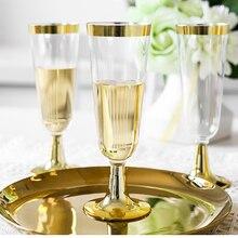 Эфирные золотые бокалы для шампанского, одноразовые бокалы для шампанского, пластиковые бокалы для торжеств, свадебной вечеринки