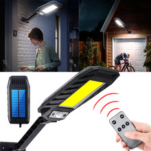 Lámpara Solar LED con Sensor de movimiento PIR para exteriores, farola con Control remoto potente, 180COB, para Patio y jardín