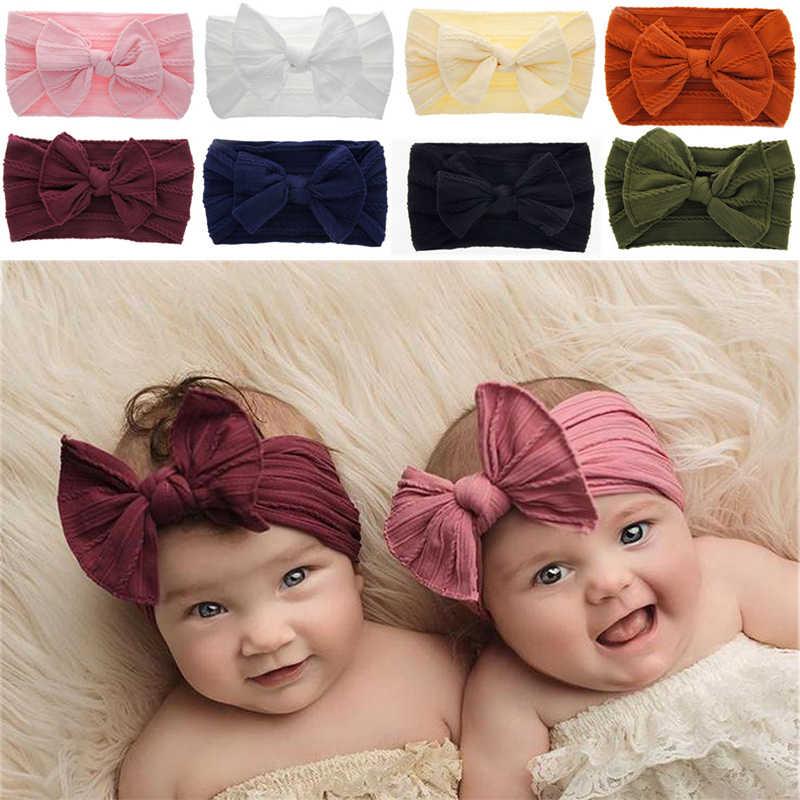 2019 Novas Crianças Acessórios elasticidade Headband do Bebê Da Menina Do Miúdo Da Criança Bow Doce Cor Faixa de Cabelo Headwear Bowknot Grande