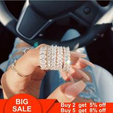 Statement Eternity Band Promise ring 925 Sterling silver Diamond Engagement Wedding Rings for women Men Party Jewelry(China)