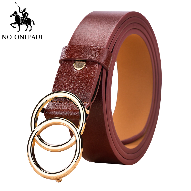 NO.ONEPAUL Double Ring Women Belt Fashion Metal Round BuckleLuxury Leather Casual Jeans Versatile Ladies Belt The Belt For Women