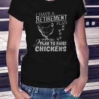 Camiseta con estampado de pollo para granja, Plan de retiro de pollos y mujeres, camiseta negra, camisa con estampado de pollo para mujeres, camiseta para mamá, Stock, Camisa vaquera