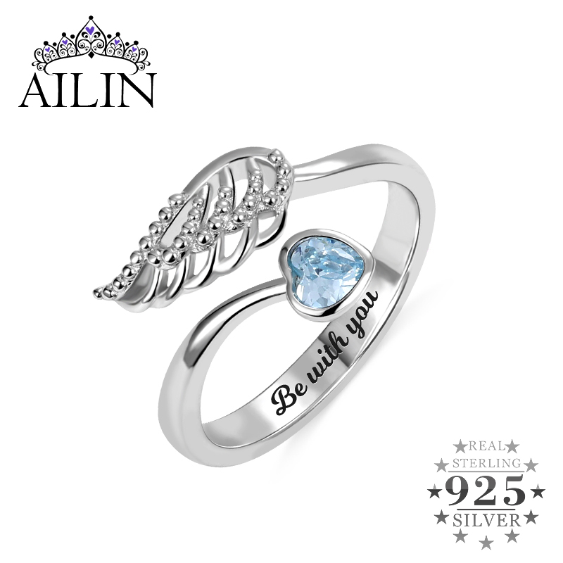 AILIN 925 Sterling Silver Rings for Women Personalized Birthstone Angel wing Ring Inside Engravings