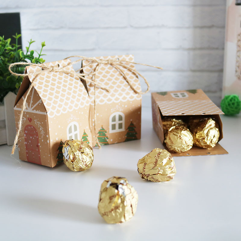 20/50pcs House Shaped Christmas Box Gift Bag Kraft Paper Candy Box Merry Christmas Party Gift Box Packaging Home Decoration