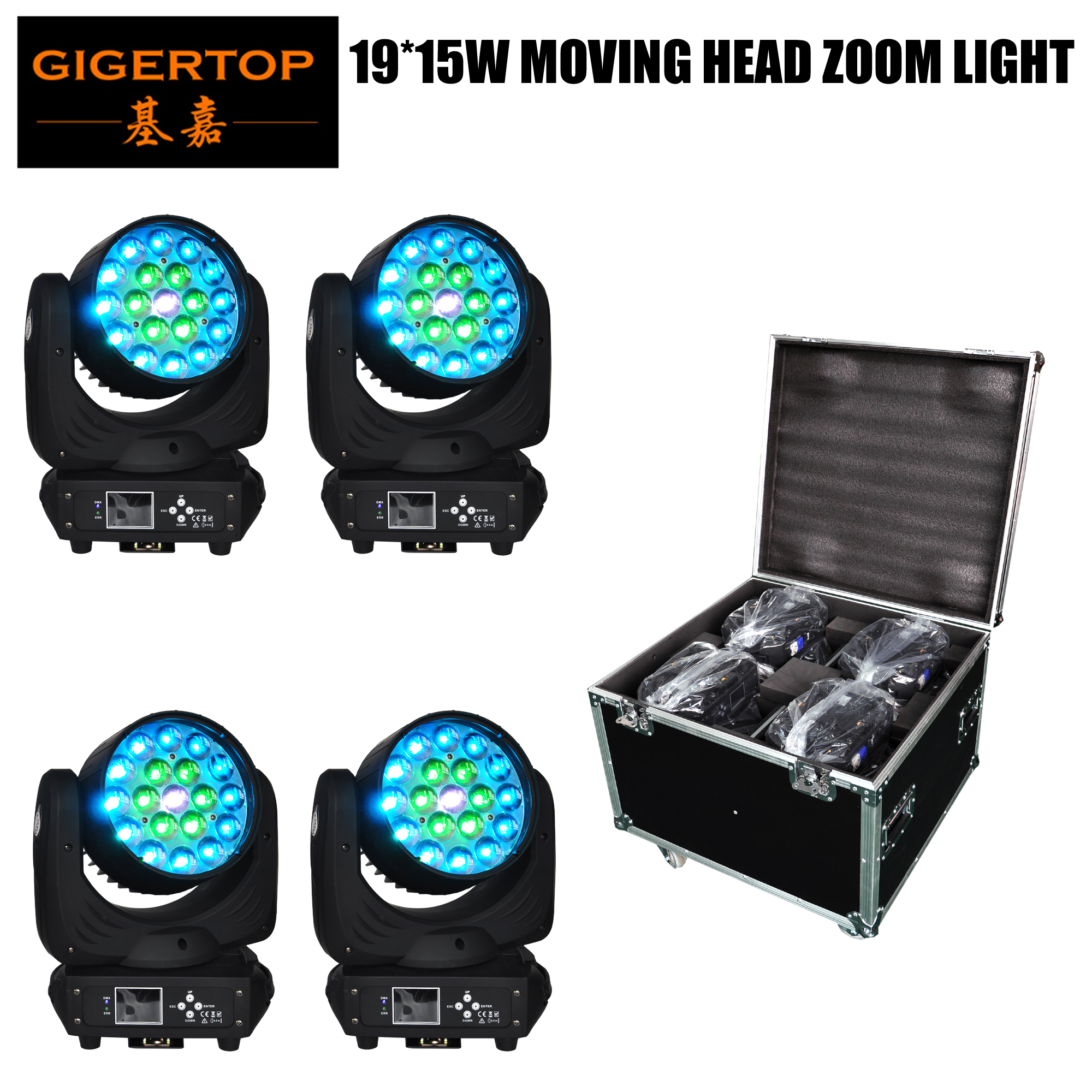 Flight Case 4in1 Pack 19 x 15W RGBW Led Moving Head Zoom Spot Wash light DMX Disco Party Club DJ Equipment Stage Effect Lights flightcase light green nail polishlight weight sewing machine - title=