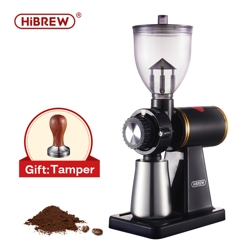 HiBREW 8 Settings Electric Coffee Bean Grinder for Espresso or American Drip coffee Durable Flat Burr  Die casting Housing G1