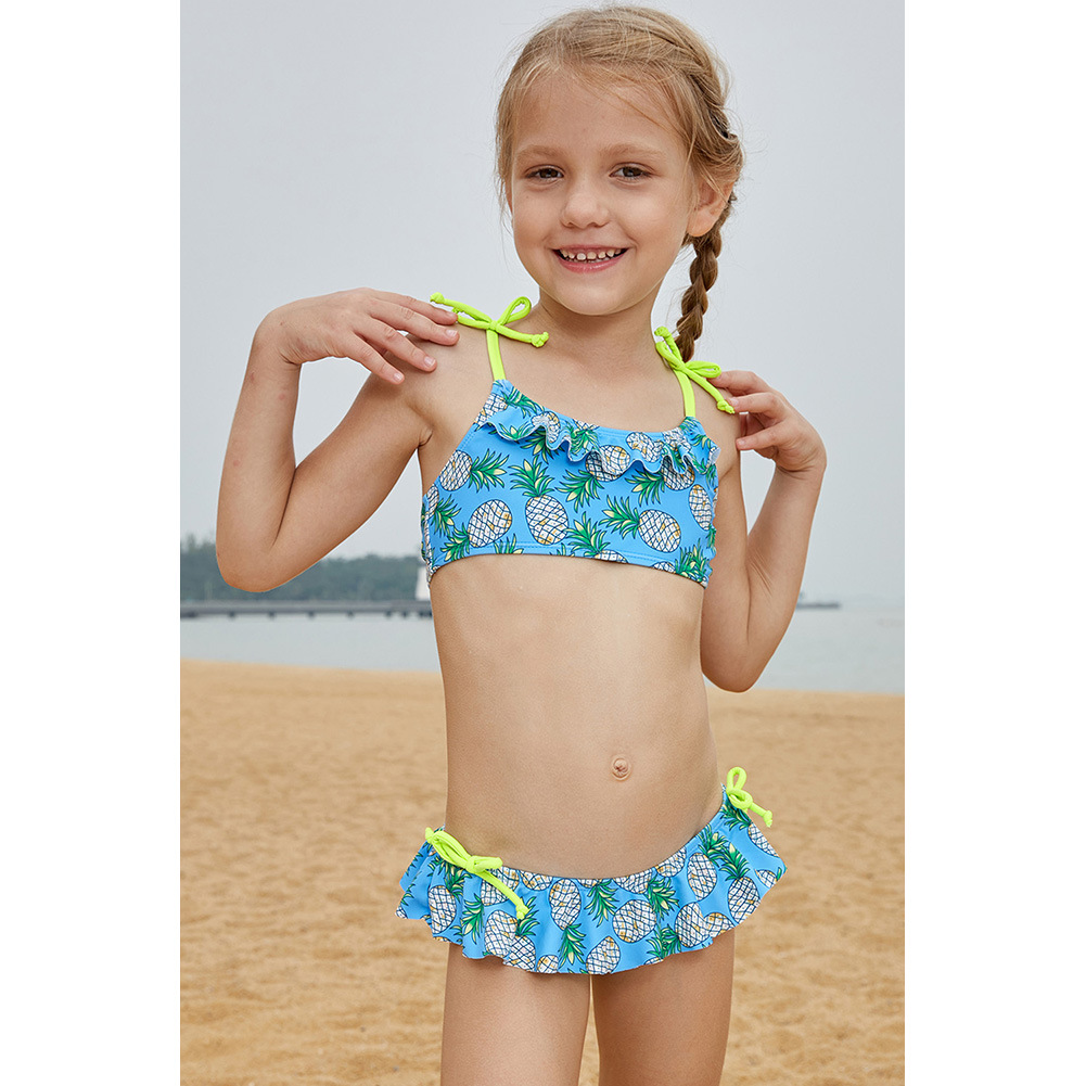 CHILDREN'S Swimwear Pineapple Printed Swimwear Cute Girls Bikini Set Split Type Big Boy TZ410037
