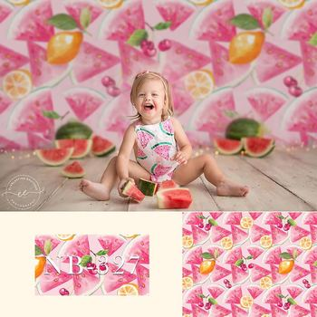 Watermelon Cherry Summer Fruit Theme Photography Backdrops Pink Sweet Girl Birthday Photo Props Studio Booth Background
