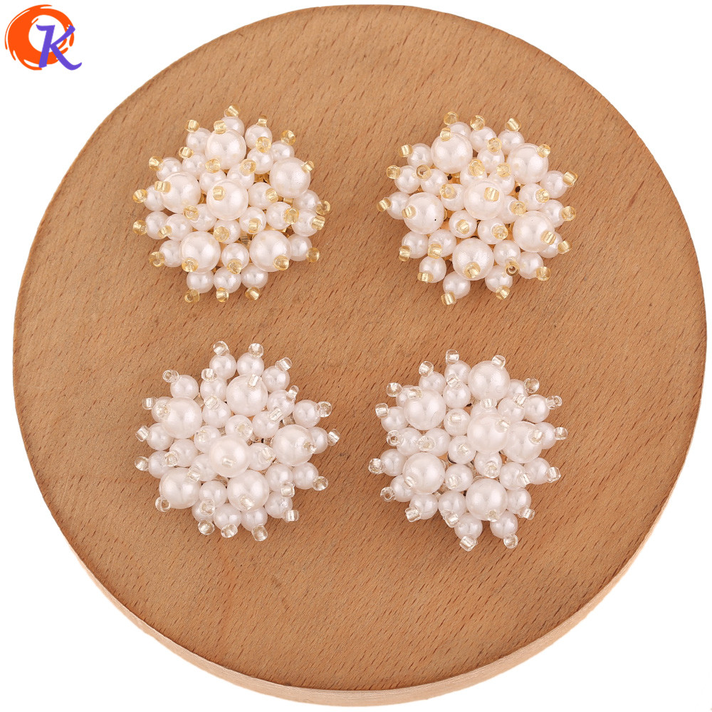 Cordial Design 30Pcs 29*29MM Jewelry Accessories/Hand Made/Imitation Pearl/Earring Findings/DIY Jewelry Making/Seed Bead Charms