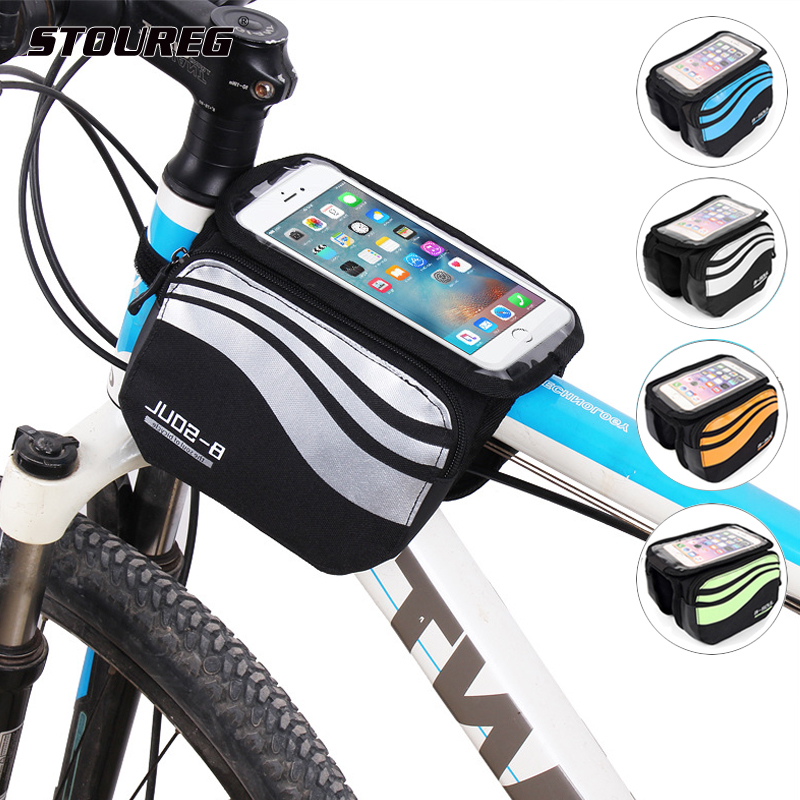 Bike Bicycle Cycling Frame Pannier Front Tube Pouch Bag Mobile Phone Holder US