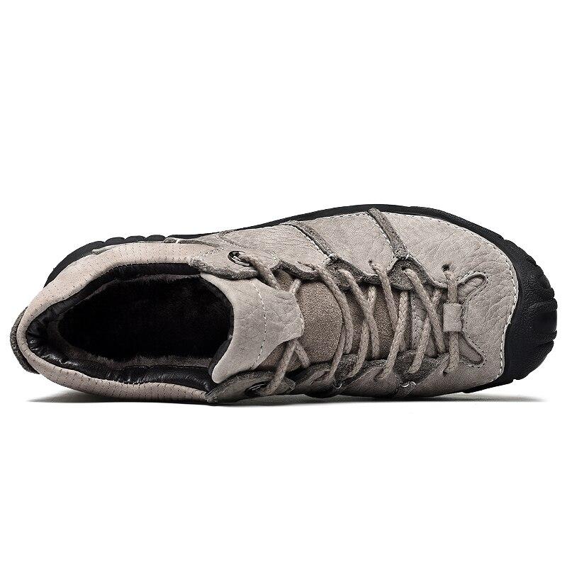 Zapatillas de senderismo para hombre, zapatos de cuero de vaca, botas de Trekking altas, impermeables, zapatillas deportivas de montaña, zapatillas para caminar al aire libre-in Botas básicas from zapatos    3